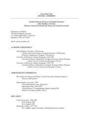 Curriculum Vitae AMANDA ANDERSON - English - Johns Hopkins ...