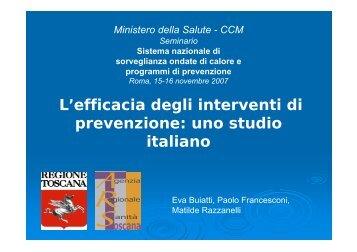 L'efficacia degli interventi di prevenzione: uno studio ... - CCM Network
