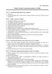 Zoznam príloh potrebných pre Žiadosť o poskytnutie podpory zo ŠFRB
