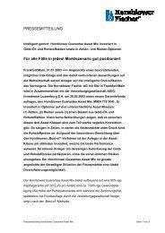 Die Hornblower Fischer AG mit Sitz in Frankfurt/Main hat einen ...