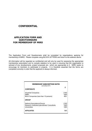 Membership Application Form only (PDF format) - Miro