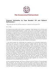Common Declaration by Pope Benedict XVI and Patriarch and ...
