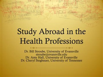 Study Abroad in the Health Professions