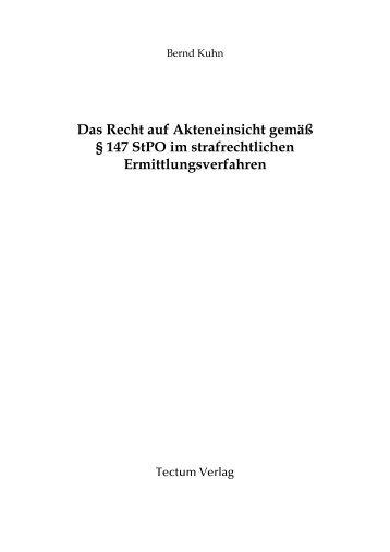 das recht auf akteneinsicht gem 147 stpo im buchhandelde - Akteneinsicht Beantragen Muster