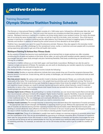 Olympic Distance Triathlon Training Schedule - Active.com