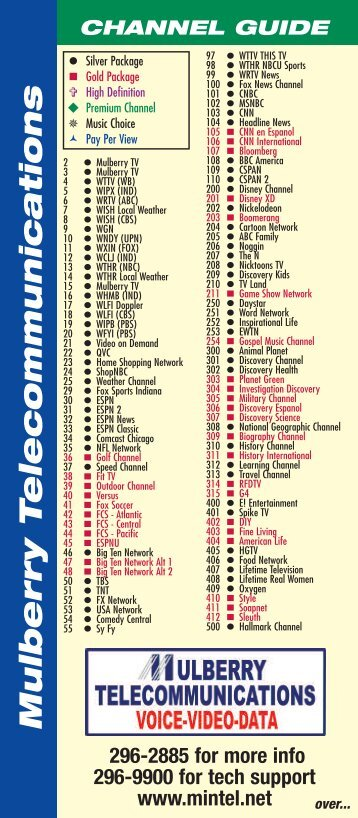 Printable Comcast Channel Guide