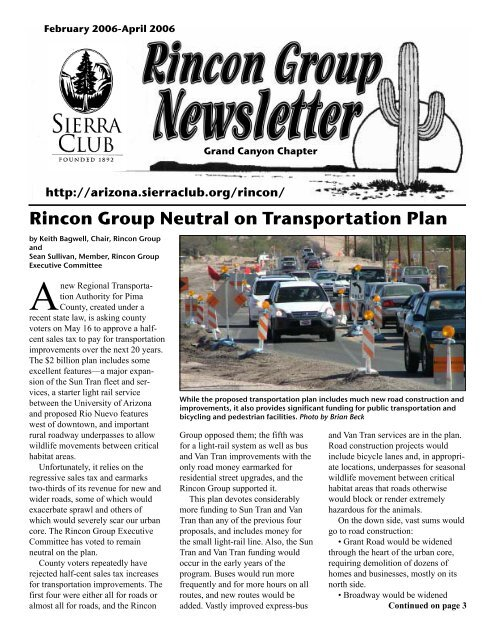 Rincon Group Neutral on Transportation Plan - Arizona Sierra Club