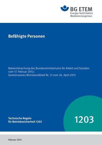 TRBS 1203 - Die BG ETEM