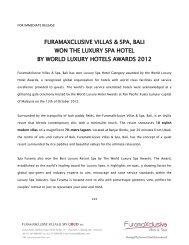 furamaxclusive villas & spa, bali won the luxury spa hotel by world ...