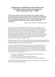 Supplementary Submission on Men's Health to the ... - Amen