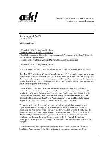 Kolumbien-aktuell No. 375 / 28. Januar 2004 - ask! Arbeitsgruppe ...