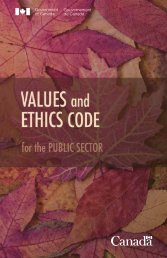 Values and Ethics Code for the Public Sector - Treasury Board of ...