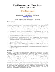Banking Law - Faculty of Law, The University of Hong Kong