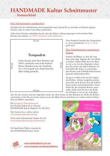 Sommerkleid Schnittmuster (PDF) - Handmade Kultur