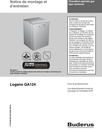 Notice de montage et d'entretien Logano GA124 - Buderus
