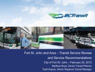 Fort St. John Transit Service Review Council Update - BC Transit