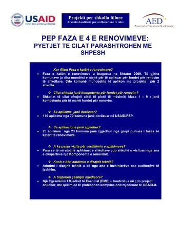 PEP FAZA E 4 E RENOVIMEVE: PYETJET TE CILAT ...