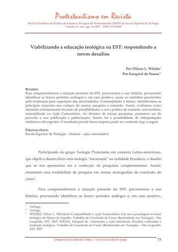 Viabilizando a educação teológica na EST ... - Faculdades EST