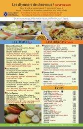 consultez notre menu - Café Chez-nous
