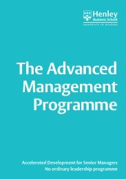 The Advanced Management Programme - Henley Business School