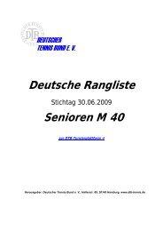 Deutsche Rangliste Senioren M 40 - Tennis - Bohlender