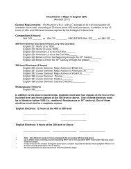 Checklist for a Major in English (BA) - Department of English