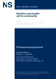 Nutrition and health: cell to community the nutrition society ...