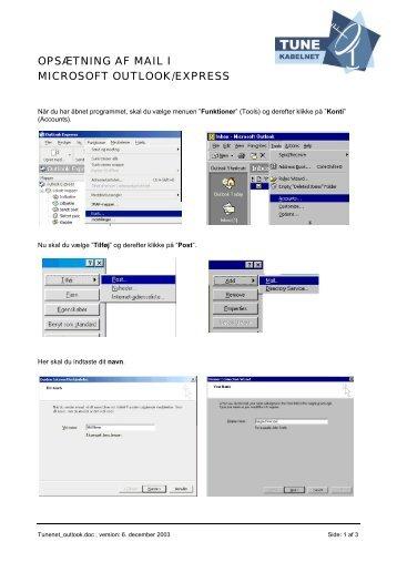 opsætning af mail i microsoft outlook/express - Tune Kabelnet ...