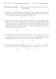 Nome e Cognome : Num. Matr. : Calcolo delle probabilit`a ... - Studium