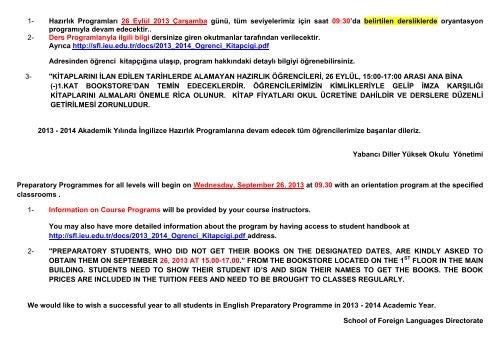 1- Hazırlık Programları 26 Eylül 2013 Çarşamba günü, tüm ...