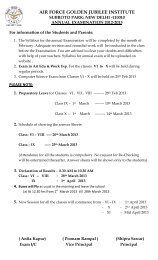 Annual Date Sheet SA-2 for Classes VI - X - Air Force Golden ...