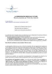Intégralité du rapport sur la démographie médicale future - Conseil ...