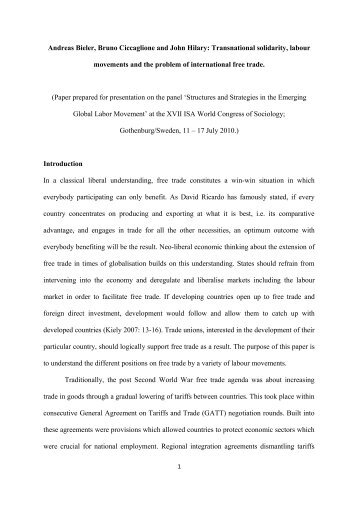 Transnational solidarity, labour movements and the problem of ...