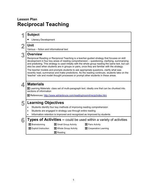 Lesson Plan: Reciprocal Teaching - youth literacy canada