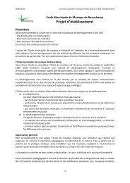 Consultez le projet d'établissement - Beauchamp