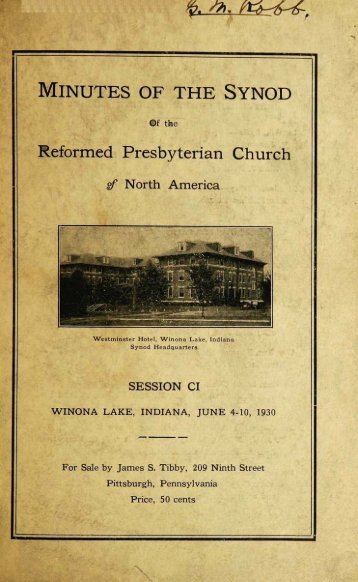Reformed Presbyterian Minutes of Synod 1930