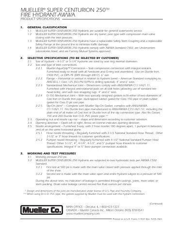 Mueller Centurion 250 (Page 1) - Mueller Co.