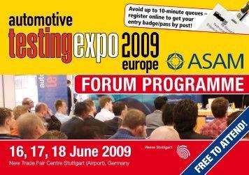 FORUM PROGRAMME - Automotive Testing Expo