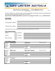 Judo Western Australia (Inc) - Club Membership Form 2008-2009