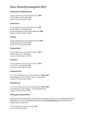 Unser Angebot 2009: - Kastanienhof