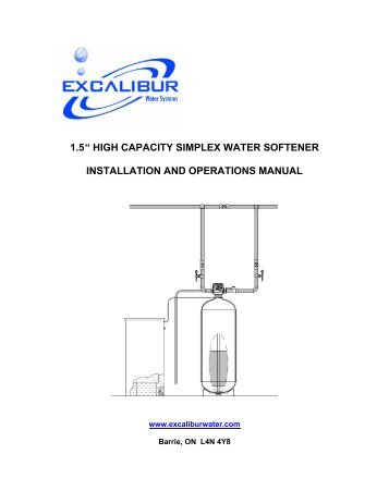 "1.5 "" high capacity simplex water softener installation and operations ..."