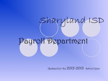 payroll office - Sharyland ISD