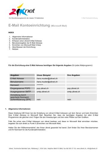 Zusatzdienste (Kurznummern) - Ziknet