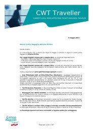 Nuova policy bagaglio Alitalia-AirOne - Carlson Wagonlit Travel