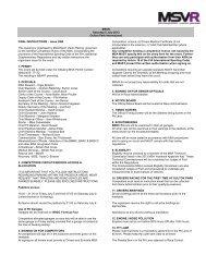 Final Instructions - MotorSport Vision Racing
