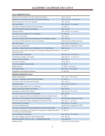 ACADEMIC CALENDAR 2013-2014 - Charlotte School of Law