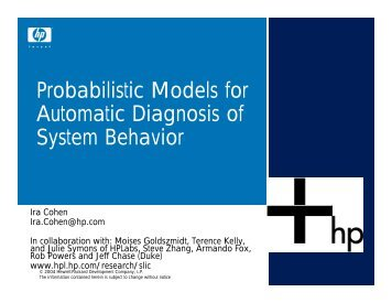 Probabilistic Models for Automatic Diagnosis of System ... - RAD Lab