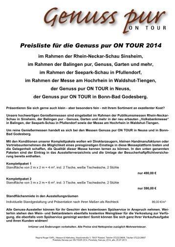 Preisliste für die Genuss pur on Tour 2013