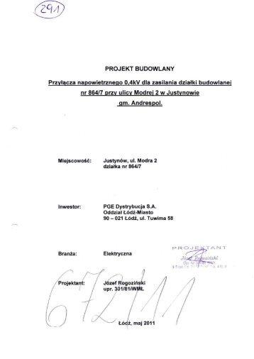 PROJEKT BUDOWLANY Przyłącza ... - PGE Dystrybucja