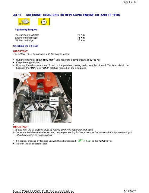 Ferrari Oil Change >> 360 Oil Change Procedure Pdf Ferrari Life